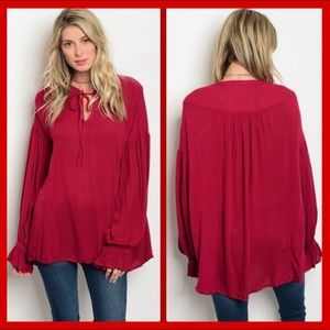 OVERSIZED VIBRANT RED BLOUSE SMALL NEW